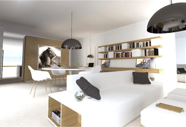 Vista del salón de la vivienda Passivhaus que Terravita construye en Ibiza
